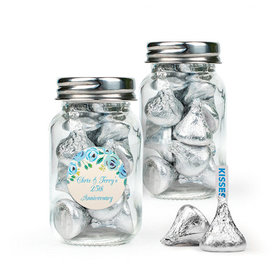 Personalized Anniversary Favor Assembled Mini Mason Jar Filled with Hershey's Kisses