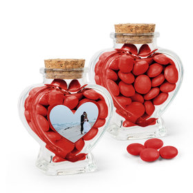 Personalized Anniversary Favor Assembled Heart Jar Filled with Just Candy Milk Chocolate Minis