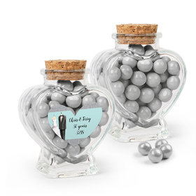 Personalized Anniversary Favor Assembled Heart Jar Filled with Sixlets