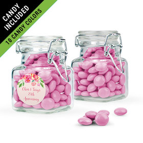 Personalized Anniversary Favor Assembled Swing Top Square Jar Filled with Just Candy Milk Chocolate Minis