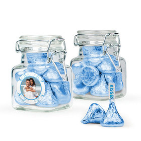 Personalized Anniversary Favor Assembled Swing Top Square Jar Filled with Hershey's Kisses