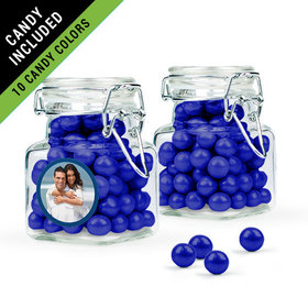 Personalized Anniversary Favor Assembled Swing Top Square Jar Filled with Sixlets