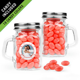 Personalized Anniversary Favor Assembled Mini Mason Mug Filled with Just Candy Jelly Beans