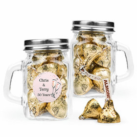Personalized Anniversary Favor Assembled Mini Mason Mug Filled with Hershey's Kisses