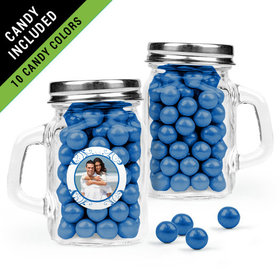 Personalized Anniversary Favor Assembled Mini Mason Mug Filled with Sixlets