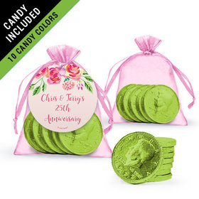 Personalized Anniversary Favor Assembled Gift tag, Organza Bag Filled with Milk Chocolate Coins