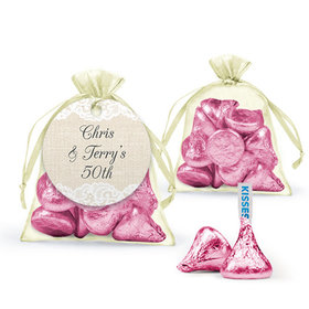 Personalized Anniversary Favor Assembled Organza Bag Filled with Hershey's Kisses