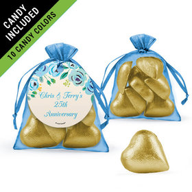 Personalized Anniversary Favor Assembled Organza Bag Filled with Milk Chocolate Hearts