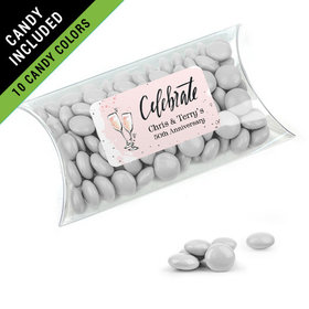 Personalized Anniversary Favor Assembled Pillow Box Filled with Just Candy Milk Chocolate Minis