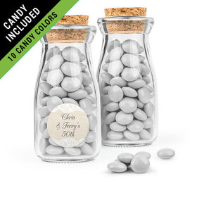 Personalized Anniversary Favor Assembled Glass Bottle with Cork Top Filled with Just Candy Milk Chocolate Minis