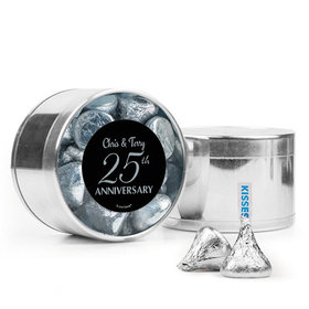 Personalized 25th Anniversary Favor Assembled Medium Round Plastic Tin Filled with Hershey's Kisses