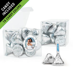 Personalized 25th Anniversary Favor Assembled Clear Box Filled with Hershey's Kisses