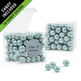 Personalized 25th Anniversary Favor Assembled Clear Box Filled with Sixlets