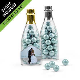 Personalized 25th Anniversary Favor Assembled Champagne Bottle Filled with Sixlets