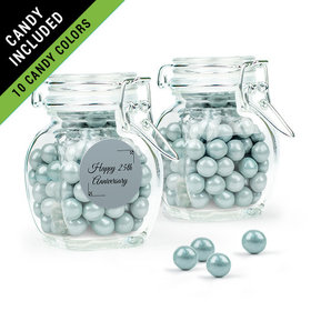 Personalized 25th Anniversary Favor Assembled Swing Top Jar Filled with Sixlets