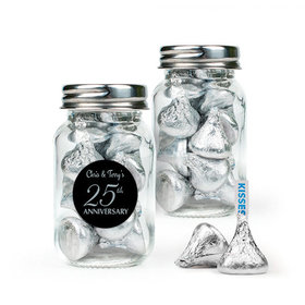 Personalized 25th Anniversary Favor Assembled Mini Mason Jar Filled with Hershey's Kisses