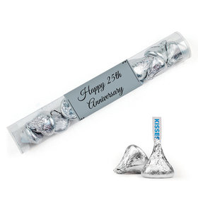 Personalized 25th Anniversary Favor Assembled Clear Tube Filled with Hershey's Kisses