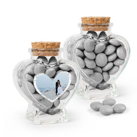 Personalized 25th Anniversary Favor Assembled Heart Jar Filled with Just Candy Milk Chocolate Minis
