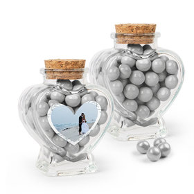 Personalized 25th Anniversary Favor Assembled Heart Jar Filled with Sixlets