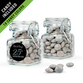 Personalized 25th Anniversary Favor Assembled Swing Top Square Jar Filled with Just Candy Milk Chocolate Minis