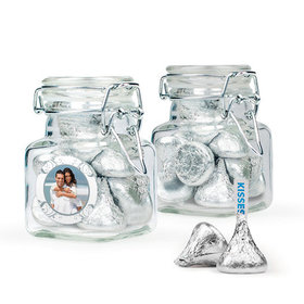 Personalized 25th Anniversary Favor Assembled Swing Top Square Jar Filled with Hershey's Kisses