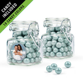 Personalized 25th Anniversary Favor Assembled Swing Top Square Jar Filled with Sixlets