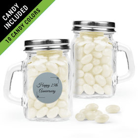 Personalized 25th Anniversary Favor Assembled Mini Mason Mug Filled with Just Candy Jelly Beans