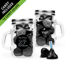 Personalized 25th Anniversary Favor Assembled Mini Mason Mug Filled with Hershey's Kisses