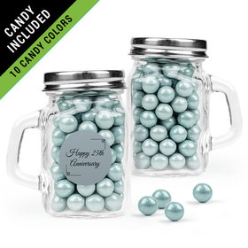 Personalized 25th Anniversary Favor Assembled Mini Mason Mug Filled with Sixlets