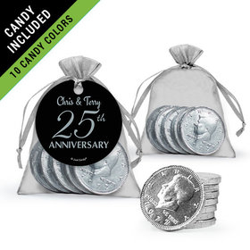Personalized 25th Anniversary Favor Assembled Gift tag, Organza Bag Filled with Milk Chocolate Coins