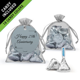 Personalized 25th Anniversary Favor Assembled Organza Bag Filled with Hershey's Kisses