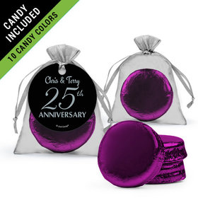 Personalized 25th Anniversary Favor Assembled Organza Bag Hang tag Filled with Chocolate Covered Oreo Cookie