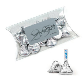 Personalized 25th Anniversary Favor Assembled Pillow Box Filled with Hershey's Kisses