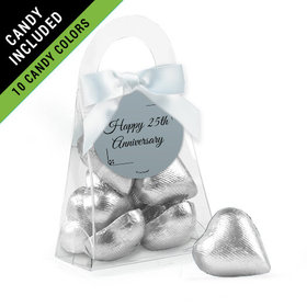 Personalized 25th Anniversary Favor Assembled Purse Filled with Milk Chocolate Hearts
