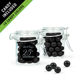 Personalized 25th Anniversary Favor Assembled Swing Top Round Jar Filled with Sixlets