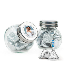 Personalized 25th Anniversary Favor Assembled Mini Side Jar Filled with Hershey's Kisses
