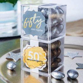Personalized 50th Anniversary JUST CANDY® favor cube with Premium Almond Jewels