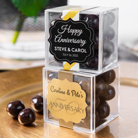 Personalized 50th Anniversary JUST CANDY® favor cube with Premium Barrel Aged Bourbon Cordials - Dark Chocolate