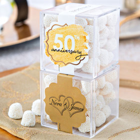 Personalized 50th Anniversary JUST CANDY® favor cube with Jelly Belly Gumdrops