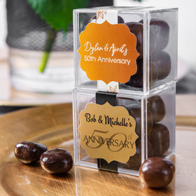 Personalized 50th Anniversary JUST CANDY® favor cube with Premium Milk & Dark Chocolate Sea Salt Caramels