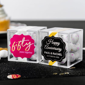 Personalized 50th Anniversary JUST CANDY® favor cube with Premium Confetti Cookie Bites