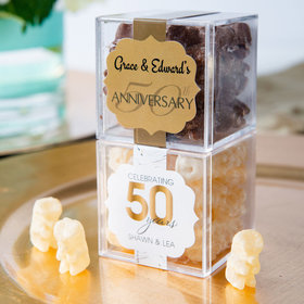 Personalized 50th Anniversary JUST CANDY® favor cube with Premium Chocolate Covered Gummy Bears