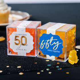 Personalized 50th Anniversary JUST CANDY® favor cube with Gummy Bears