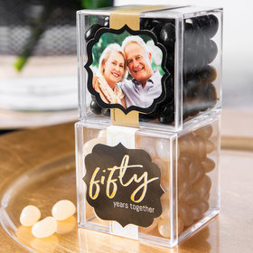 Personalized 50th Anniversary JUST CANDY® favor cube with Jelly Belly Jelly Beans