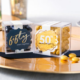 Personalized 50th Anniversary JUST CANDY® favor cube with Just Candy Milk Chocolate Minis