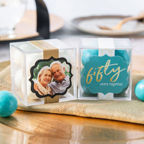 Personalized 50th Anniversary JUST CANDY® favor cube with Premium Malted Milk Balls