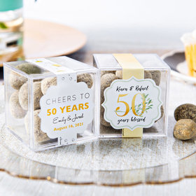 Personalized 50th Anniversary JUST CANDY® favor cube with Premium Marshmallow S'mores - Milk Chocolate