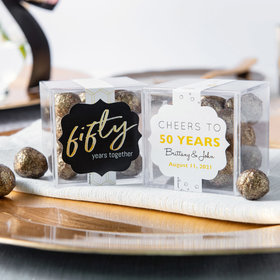 Personalized 50th Anniversary JUST CANDY® favor cube with Premium Sparkling Prosecco Cordials - Dark Chocolate