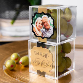 Personalized 50th Anniversary JUST CANDY® favor cube with Premium Martini Olive Almonds - White Chocolate