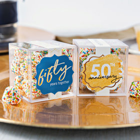 Personalized 50th Anniversary JUST CANDY® favor cube with Rainbow Berries